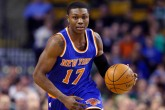 New York Knicks forward Cleanthony Early (17) dribbles up court during the first half of an NBA basketball game against the Boston Celtics in Boston, Wednesday, Feb. 25, 2015. (AP Photo/Elise Amendola)